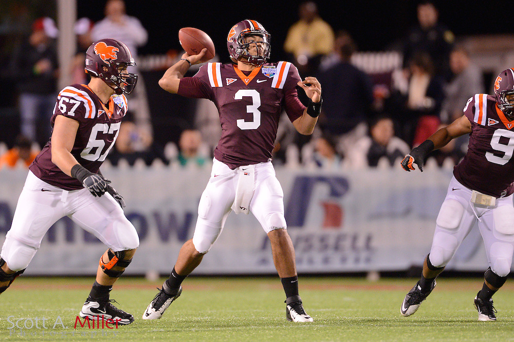 Virginia Tech Hokies quarterback Logan Thomas (3) looks to throw up field against the Rutgers Scarlet Knights in the Russell Athletic Bowl on Dec 28, 2012 in Orlando, Florida. ...©2012 Scott A. Miller..