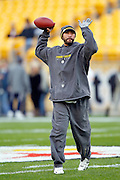 Pittsburgh Steelers quarterback Charlie Batch (16) throws a pregame pass during the NFL week 16 football game against the St. Louis Rams on Saturday, December 24, 2011 in Pittsburgh, Pennsylvania. The Steelers won the game in a 27-0 shutout. ©Paul Anthony Spinelli