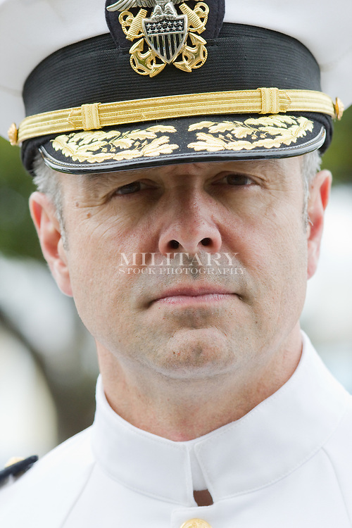 Portrait of US Navy officer in dress white uniform, model-released, portrayed by actor Peter Berner.