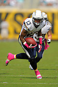 San Diego Chargers wide receiver Keenan Allen (13) runs upfield during an NFL game against the Jacksonville Jaguars at EverBank Field on Oct. 20, 2013 in Jacksonville, Florida. San Diego won 24-6.<br /> <br /> ©2013 Scott A. Miller