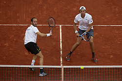 April 7, 2018 - Valencia, Valencia, Spain - Tim Putz (L) and Jan-Lennard Struff of Germany in action in their doubles match against Feliciano Lopez and Marc Lopez of Spain during day two of the Davis Cup World Group Quarter Finals match between Spain and Germany at Plaza de Toros de Valencia on April 7, 2018 in Valencia, Spain  (Credit Image: © David Aliaga/NurPhoto via ZUMA Press)