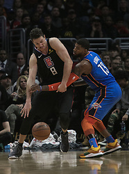 March 8, 2019 - Los Angeles, California, United States of America - Danilo Gallinari #8 of the Los Angeles Clippers tries drive past Paul George #13 of the Oklahoma Thunder during their NBA game on Friday March 8, 2019 at the Staples Center in Los Angeles, California. Clippers defeat Thunder, 118-110.  JAVIER ROJAS/PI (Credit Image: © Prensa Internacional via ZUMA Wire)