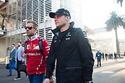 October 27-29, 2017: Mexican Grand Prix. Sebastian Vettel (GER), Scuderia Ferrari, SF70H , Valtteri Bottas (FIN), Mercedes AMG Petronas Motorsport, F1 W08