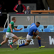Jacob Ale scores the first try for Manu Samoa in their 10-5 victory over Ireland 7's at the Silicone Valley 7's, Avaya Stadium, San Jose, California, USA.  Photo by Barry Markowitz, 11/05/17, 12:15pm