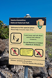 Warning sign at entrance to Kaloko-Honokohau National Historical Park, The Big Island, Hawaii, United States of America