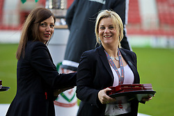 WREXHAM, WALES - Monday, May 2, 2016: FAW's Amanda Smith and Suzanne Twamley during the 129th Welsh Cup Final at the Racecourse Ground. (Pic by David Rawcliffe/Propaganda)