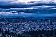 Portland, Oregon just before sunrise from the Pittock Mansion.