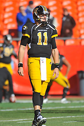 Nov 27, 2010; Kansas City, MO, USA; Missouri Tigers quarterback Blaine Gabbert (11) warms up before the game against the Kansas Jayhawks at Arrowhead Stadium. Missouri won 35-7. Mandatory Credit: Denny Medley-US PRESSWIRE