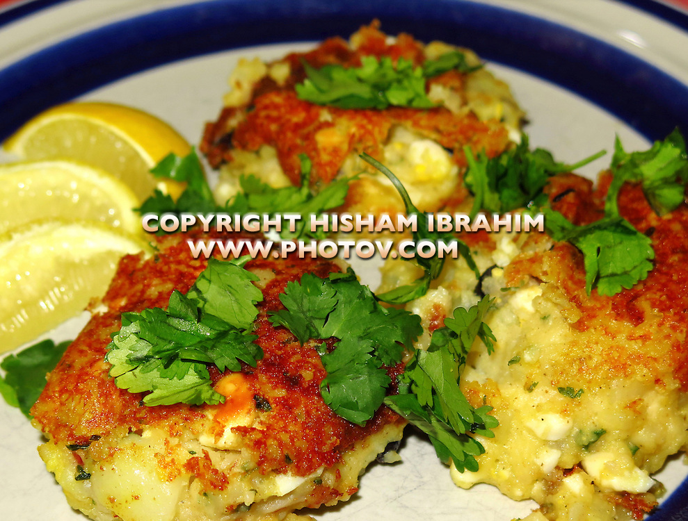 Mashed potato balls stuffed with boiled eggs, spices and cilantro - Middle Eastern Food.