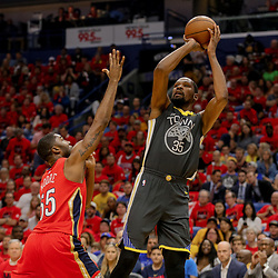 May 4, 2018; New Orleans, LA, USA; Golden State Warriors forward Kevin Durant (35) shoots over New Orleans Pelicans forward E'Twaun Moore (55) during the first quarter in game three of the second round of the 2018 NBA Playoffs at Smoothie King Center. Mandatory Credit: Derick E. Hingle-USA TODAY Sports