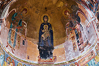 Georgie, Koutaissi,  monastère de Gelati, patrimoine mondial de l'UNESCO, interieur, fresque, mosaique de la Vierge à l'enfant // Georgia, Kutaisi, Gelati monastery, UNESCO world heritage, interior, frescoes, mosaicirgin and the Child