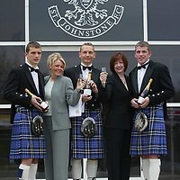 Preparations for the innaugural St Johnstone FC Ladies evening, where players will serve the ladies champagne as they arrive, pictured from left, Kevin Cuthbert, Susan Weir, Sales Executive, Tommy Lovenkrands, Susan Fenton, Manager of Carbone and Jim Weir...<br />see story by Gordon Bannerman Tel:01738 553978<br /><br />Picture by Graeme Hart.<br />Copyright Perthshire Picture Agency<br />Tel: 01738 623350  Mobile: 07990 594431