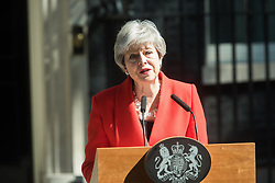 May 24, 2019, London, UK: British Prime Minister THERESA MAY makes a statement in Downing Street after meeting Graham Brady, the chair of 1922 committee. Theresa May will resign as Prime Minister and the leader of the Conservative Party on 7 June 2019. (Credit Image: © Panoramic via ZUMA Press)