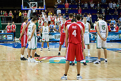 Team of Slovenia and Croatia during a minute's silence following the Ruda Slaska-Kochlowice, Southern Poland, coal mining accident which claimed the lives of at least 12 coal miners before the EuroBasket 2009 Quaterfinals match between Slovenia and Croatia, on September 18, 2009, in Arena Spodek, Katowice, Poland.  (Photo by Vid Ponikvar / Sportida)
