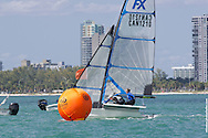 MIAMI, February 2, 2013 - Erin Berry and Danielle Boyd cross the finish line at the 2013 ISAF World Sailing Cup in Miami