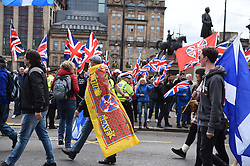 A minority of Remain protestors in George Square during the All under One Banner, Scottish Independence Rally March, Angie Isac | EEm Thursday 11 May 2017