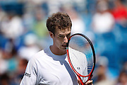 CINCINNATI, OH - AUGUST 20: Andy Murray of Great Britain gestures after a missed shot in his match against Radek Stepanek of the Czech Republic during day four of the Western & Southern Financial Group Masters on August 20, 2009 at the Lindner Family Tennis Center in Cincinnati, Ohio. Murray defeated Stepanek. (Photo by Joe Robbins)
