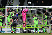 Forest Green Rovers goalkeeper James Montgomery punches the ball clear during the EFL Sky Bet League 2 match between Forest Green Rovers and Lincoln City at the New Lawn, Forest Green, United Kingdom on 2 March 2019.