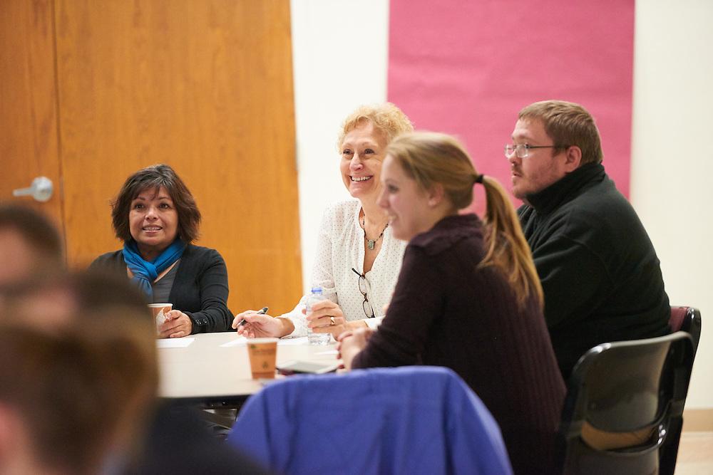 Activity; Collaboration; Speaking; Buildings; Cartwright; Location; Inside; People; Diversity; Man Men; Student Students; Woman Women; Faculty; Professor; Type of Photography; Candid; UWL UW-L UW-La Crosse University of Wisconsin-La Crosse; Winter; February