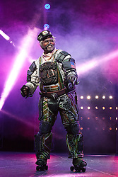 "© Licensed to London News Pictures. 11/05/2012. London, England. Lothair Eaton as Poppa. Andrew Lloyd Webber's rock musical ""Starlight Express"" opens at the New Wimbledon Theatre with a new cast before embarking on a UK tour. Choreography by Arlene Phillips. With Kristofer Harding as Rusty, Mykal Rand as Electra, Lothair Eaton as Poppa, Amanda Coutts as Pearl, Ruthie Stephens as Dinah, Kelsey Cobban as Duffy, Camilla Hardy as Buffy and Jamie Capewell as Greaseball. Photo credit: Bettina Strenske/LNP"