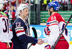 Matt Hendricks of USA and Jaromir Jagr of Czech Republic after the Ice Hockey match between USA and Czech Republic at Third place game of 2015 IIHF World Championship, on May 17, 2015 in O2 Arena, Prague, Czech Republic. Photo by Vid Ponikvar / Sportida