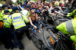 © London News Pictures. 19/08/2013. Balcombe, UK. Police tempt to remove bikes being used as a barricade at the front of the Cuadrilla drilling site in Balcombe, West Sussex on a day of of civil disobedience organised by campaign group No Dash For Gas. Cuadrilla has temporarily ceased drilling at the site, which has been earmarked for fracking, under advice from the police. Photo credit: Ben Cawthra/LNP