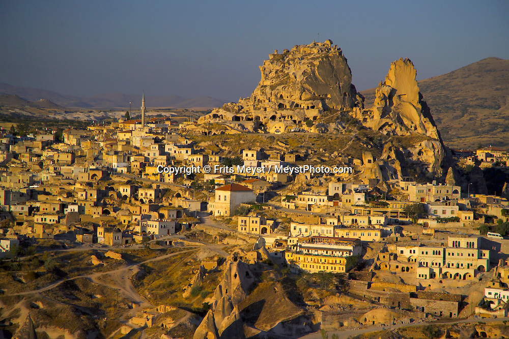Goreme, Cappadocia, Nevsehir, Turkey. The village of Uchisar. A hot air balloon flight is one of the best ways to explore the fairy chimney landscape of Cappadocia and the Gorme National Park. Photo by Frits Meyst/Adventure4ever.com