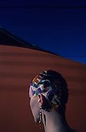 In front a TGV  Paris  France    coiffure sculpture du coiffeur plasticien Jean Philippe Pages . une locomotive du TGV  Paris  France  R00008/    L0006362  /  P101621