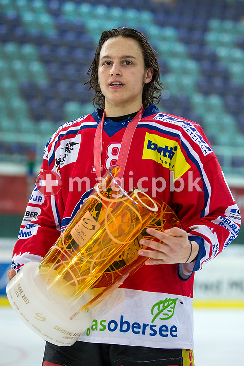 Rapperswil-Jona Lakers forward Toni Szabo poses for a photo with his gold medal and the Swiss Championships trophy after winning the fifth Elite B Playoff Final ice hockey game between Rapperswil-Jona Lakers and ZSC Lions held at the SGKB Arena in Rapperswil, Switzerland, Sunday, Mar. 19, 2017. (Photo by Patrick B. Kraemer / MAGICPBK)