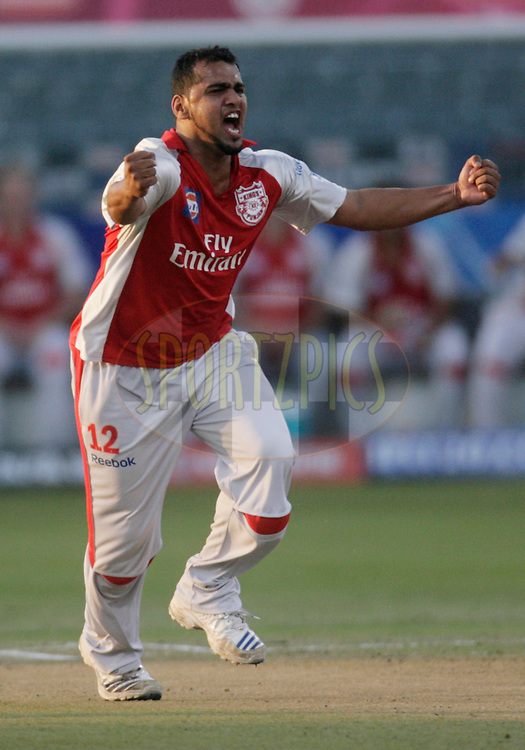DURBAN, SOUTH AFRICA - 24 April 2009. Yusuf Abdulla celebrates the wicket of Kevin Pietersen during the IPL Season 2 match between the Royal Challengers Bangalore and the Kings X1 Punjab held at Sahara Stadium Kingsmead, Durban, South Africa..