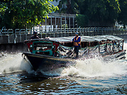 13 SEPTEMBER 2017 - BANGKOK, THAILAND: Boats bring commuters into Bangkok on Khlong Saen Saeb. The khlong (canal) was built in the early 19th century to move Siamese troops to the Cambodian border to invade Cambodia. Now it used to bring commuters from the Ramkhaemkang area into Bangkok.       PHOTO BY JACK KURTZ