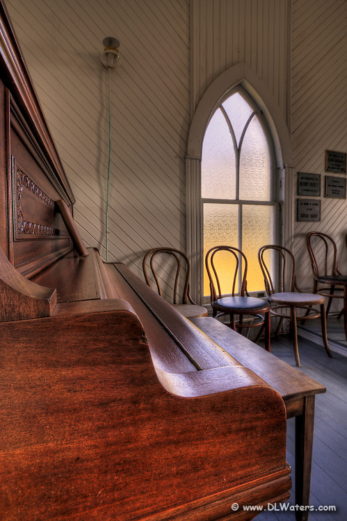 An inside photograph of Portsmouth Islands church. Portsmouth used to be the largest port in North Carolina until   the shoaling inlet halted commerce and  the towns people moved away. It has been restored by the National Park Service.