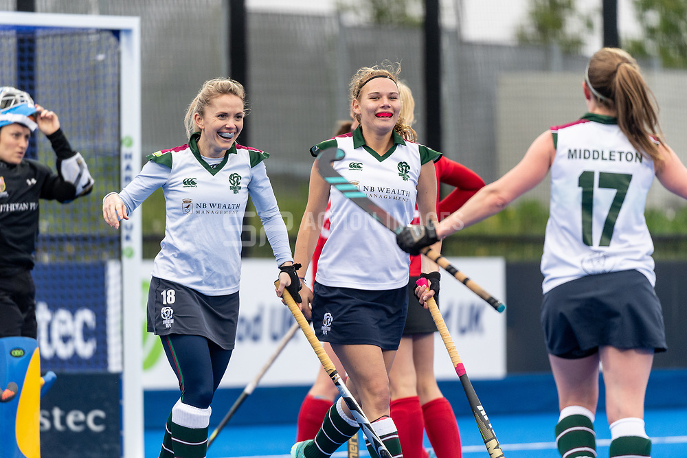 Surbiton celebrate scoring. Holcombe v Surbiton - Investec Women's Hockey League Final, Lee Valley Hockey & Tennis Centre, London, UK on 29 April 2018. Photo: Simon Parker