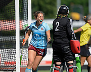Hamburg's Marie Mavers celebrates scorint he 5th goal against Canterbury during their opening game of the EHCC 2017 at Den Bosch HC, The Netherlands, 2nd June 2017
