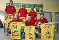 Alexey Peskov, Tomas Reznicek, Tone Tiselj, Nikola Kojic, Boris Vodisek and Luka Scurek at press conference of handball club RK Celje Pivovarna Lasko before new season 2008/2009, on September 2, 2008 in Celje, Slovenia. (Photo by Vid Ponikvar / Sportal Images)