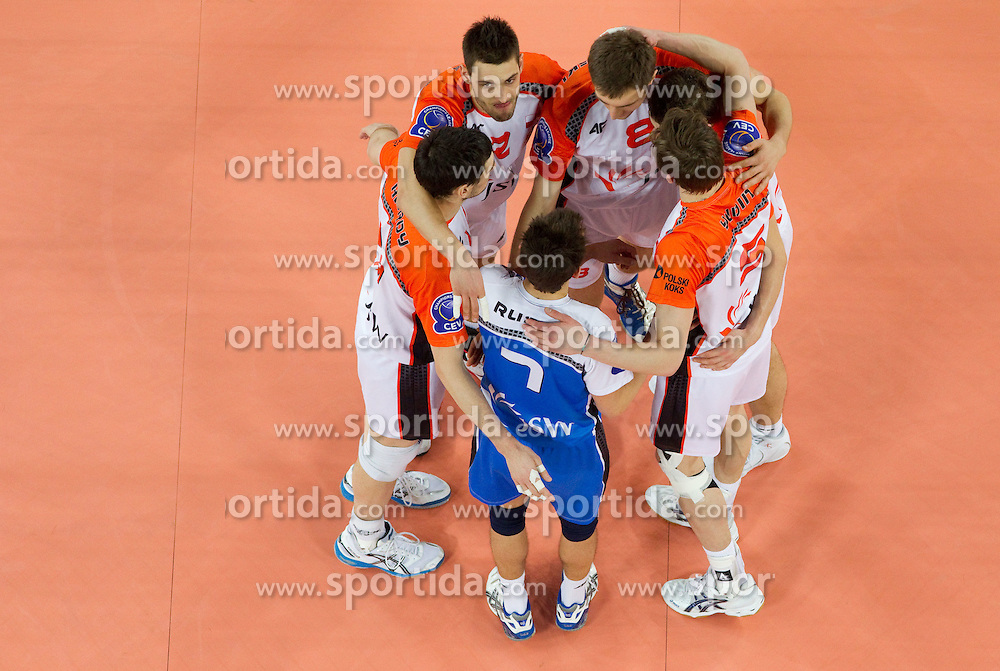 Players of  Jastrzebski celebrate during volleyball match between ACH Volley (SLO) and Jastrzebski Wegiel (POL) in 6th Round of 2011 CEV Champions League, on January 12, 2011 in Arena Stozice, Ljubljana, Slovenia. (Photo By Vid Ponikvar / Sportida.com)