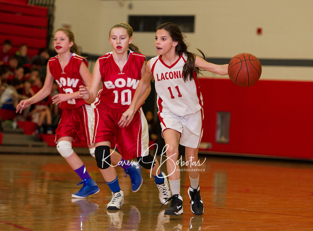 Laconia Middle School A Team basketball with Bow on Wednesday, January 21, 2015.  Karen Bobotas for the Laconia Daily Sun