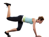 doing workout on white isolated background