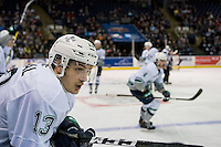 KELOWNA, CANADA - DECEMBER 7: Mathew Barzal #13 of the Seattle Thunderbirds stands on the bench against the Kelowna Rockets on December 7, 2016 at Prospera Place in Kelowna, British Columbia, Canada.  (Photo by Marissa Baecker/Shoot the Breeze)  *** Local Caption ***