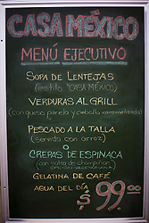 The lunch menu board at the Casa Mexico restaurant.