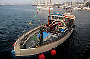The St Mawes ferry arriving in the harbour, Falmouth, Cornwall, England, UK