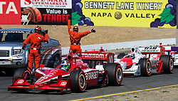 Dario Franchitti (10) leads the field during a caution early in the race.  The 2009 Sonoma Grand Prix IndyCar race was held at Infineon Raceway in Sonoma, California on August 23, 2009.