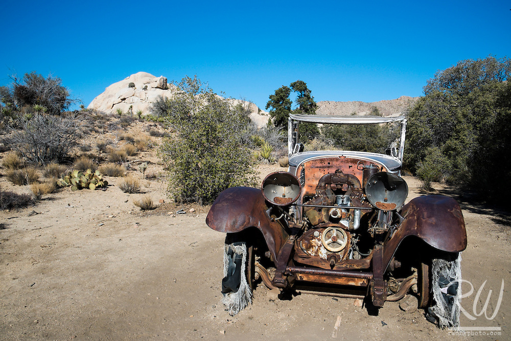 Antique Car at Wall Street Mill, Joshua Tree National Park, California