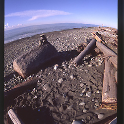 Dungeness Spit and the Strait of Juan de Fuca (Fisheye), Dungeness National Wildlife Refuge, Olympic Peninsula, Washington, US