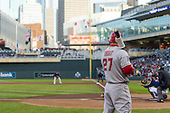 Mike Trout #27 of the Los Angeles Angels waits on-deck during a game against the Minnesota Twins on April 16, 2013 at Target Field in Minneapolis, Minnesota.  The Twins defeated the Angels 8 to 6.  Photo: Ben Krause