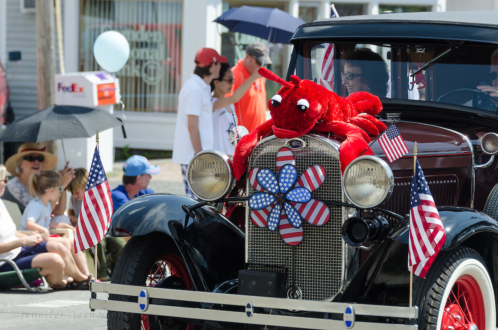 BAR HARBOR, MAINE, July 4, 2014. An antique car decorated for the Independence Day Parade