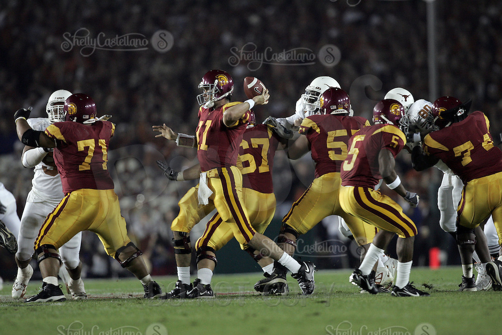 January 4, 2006: USC Trojans senior quarterback #11 Matt Leinart at the USC Trojans game versus the Texas Longhorns in the Rose Bowl Game and BCS National Championship at the Rose Bowl in Pasadena, CA. UT beat Southern California 41-38 for the National Championship.