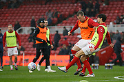 Middlesbrough defender Aden Flint (24)  and Middlesbrough defender George Friend (3)  warming up  during the EFL Sky Bet Championship match between Middlesbrough and Derby County at the Riverside Stadium, Middlesbrough, England on 27 October 2018.