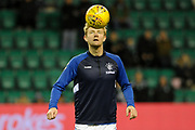 Joe Worrall warms up for the Ladbrokes Scottish Premiership match between Hibernian and Rangers at Easter Road, Edinburgh, Scotland on 19 December 2018.