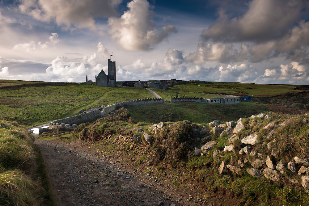 St Helen's Church and the village on Lundy Island